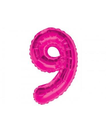 Fóliový balón číslo 9- ružový 86cm
