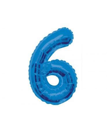 Fóliový balón číslo 6 -modrý 86cm