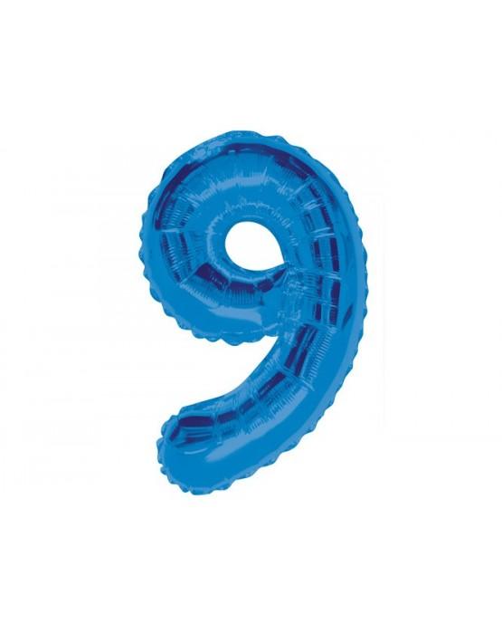 Fóliový balón číslo 9 -modrý 86cm