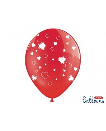 Latexové balóny červené-biele srdcia 30cm 10ks