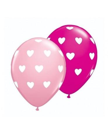 """Latexové balóny ružové- biele srdcia 11"""" 10ks"""