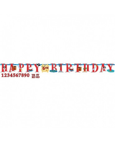 Banner Happy Birthday a čísla - piráti 3,2m