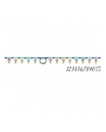 Banner Happy Birthday a čísla- farebný 3,2m