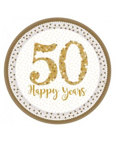 Tanieriky Happy Birthday 60 zlaté 23cm 8ks
