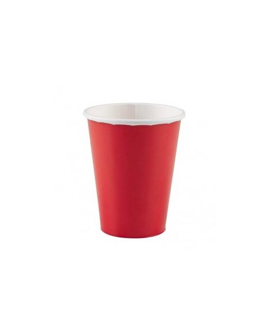 Papierové poháriky červené 266ml 8ks