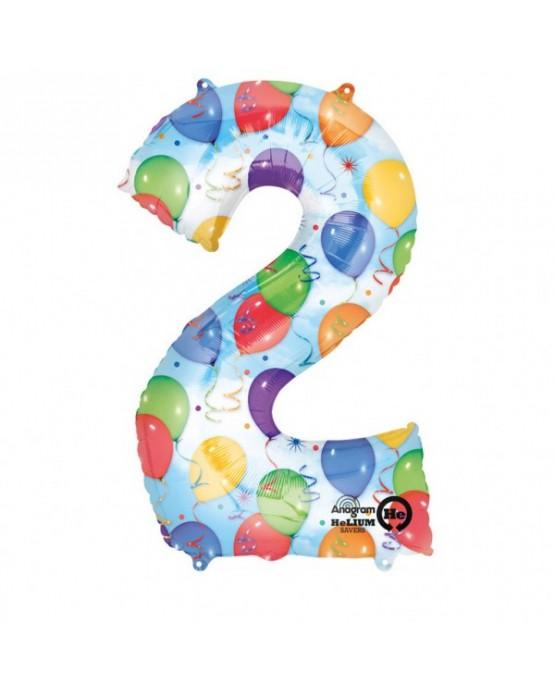Fóliový balón číslo 2- farebný 50x88cm