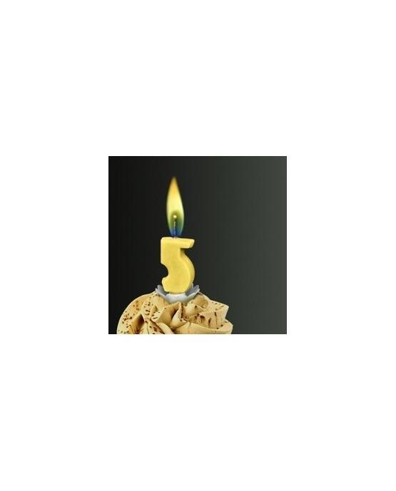 Sviečka - číslo 5 -žltý plameň