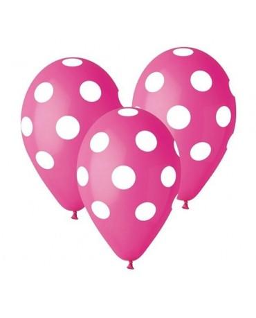 Latexové balóny ružové- biele bodky 30cm 10ks