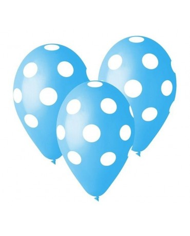 Latexové balóny modré - biele bodky 30cm 10ks