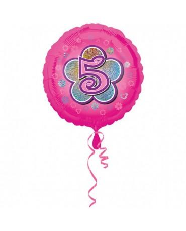 Fóliový balón číslo 5 - ružový s kvetom 47cm