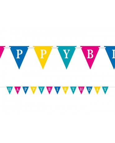 Banner vlajok Happy Birthday -farebný 274cm