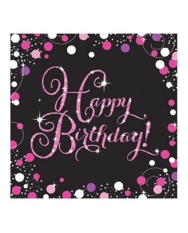 Servítky Happy Birthday - ružové 33cm 16ks