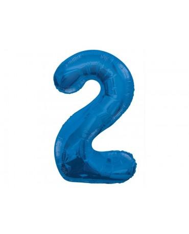 Fóliový balón číslo 2 - modrý 86cm