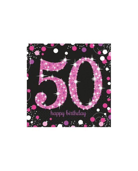 Servítky na 50 nar. ružové 33cm 16ks