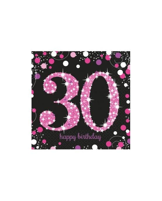 Servítky na 30 nar. ružové 33cm 16ks