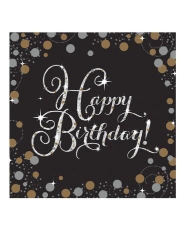 Servítky Happy Birthday - zlaté 33cm 16ks