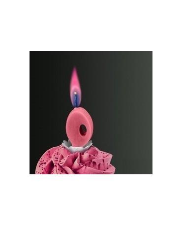 Sviečka - číslo 0 -ružový plameň