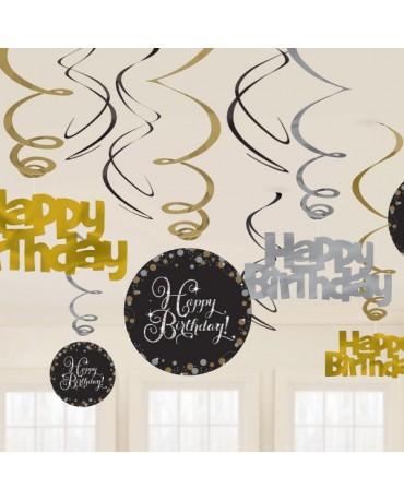 Dekorácia Happy Birthday 12ks