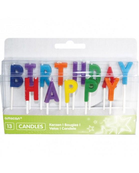 Sviečky Happy Birthday 13ks