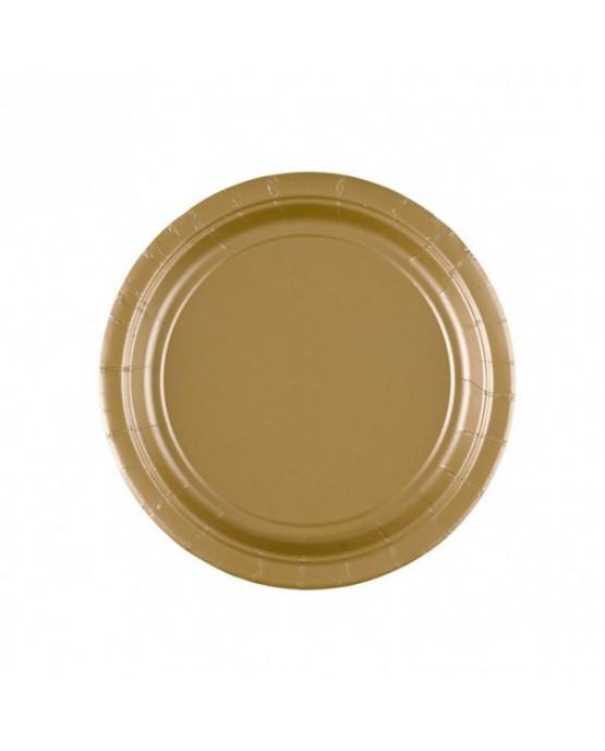 Plastové tanieriky zlaté 18cm 8ks