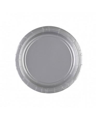 Papierové tanieriky strieborné 18cm 8ks