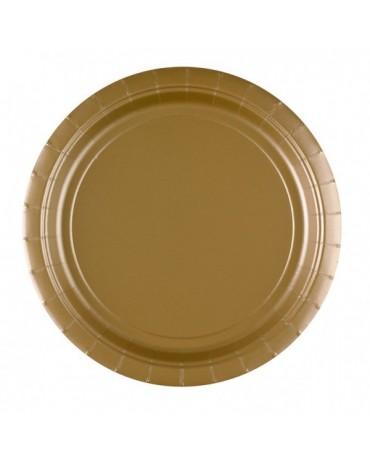 Plastové tanieriky zlaté 23cm 8ks