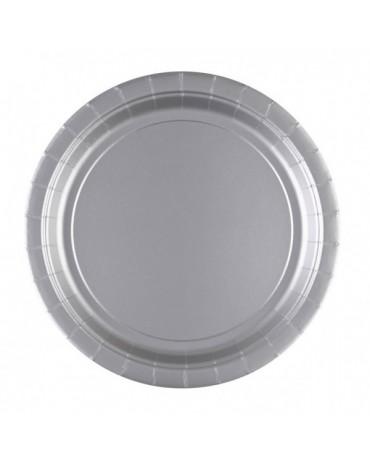 Papierové tanieriky strieborné 23cm 8ks