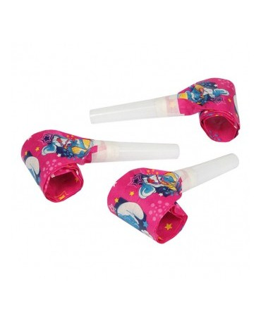 Rolovacie píšťalky Šmolkovia -ružové 6ks
