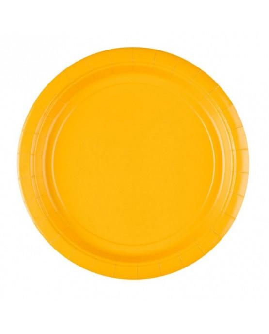 Papierové tanieriky žlté 23cm 8ks