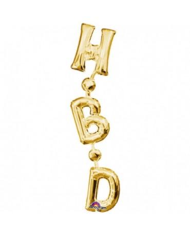 Fóliový balón HBD zlatý 17x81cm