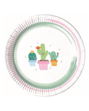 Tanieriky papierové kaktus 23cm 8ks