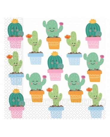 Servítky papierové kaktus 33x33cm 20ks