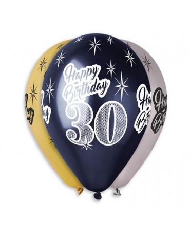 Metalické balóny Happy Birthday 30, 12'' 6ks