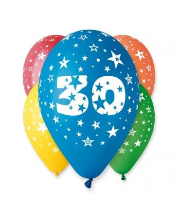 Pastelové balóny číslo 30, 12'' mix 5ks