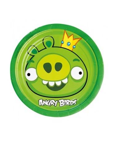 Tanieriky Angry Birds zelené 18cm - 8 ks