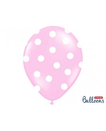Latexové balóny bledoružové -biele bodky 30cm 10ks