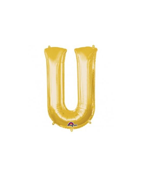 Fól. balón - zlaté U    20x33cm 1ks