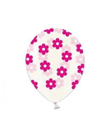 Latexové balóny priehľadné- ružové kvety 30cm 10ks