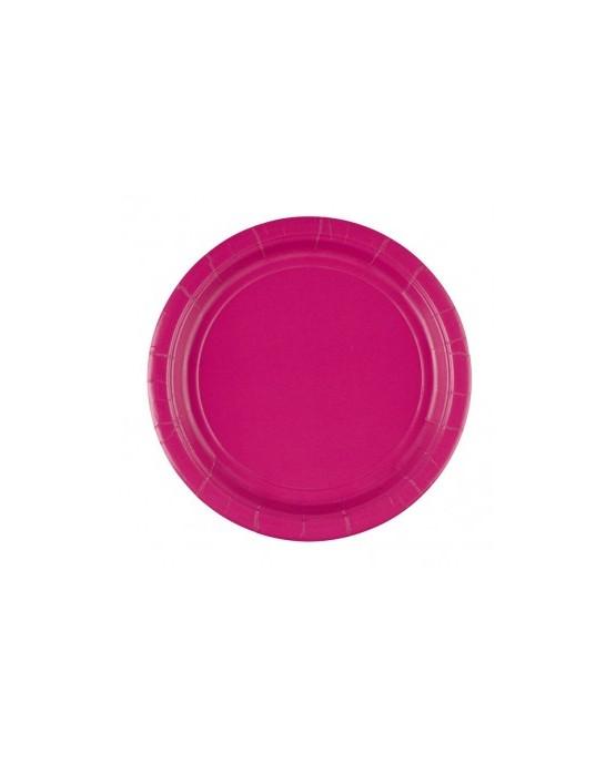 Papierové tanieriky ružové 23cm 8ks