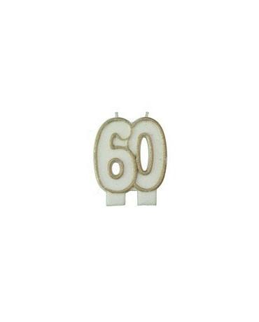 Sviečka číslo 60 zlatý okraj