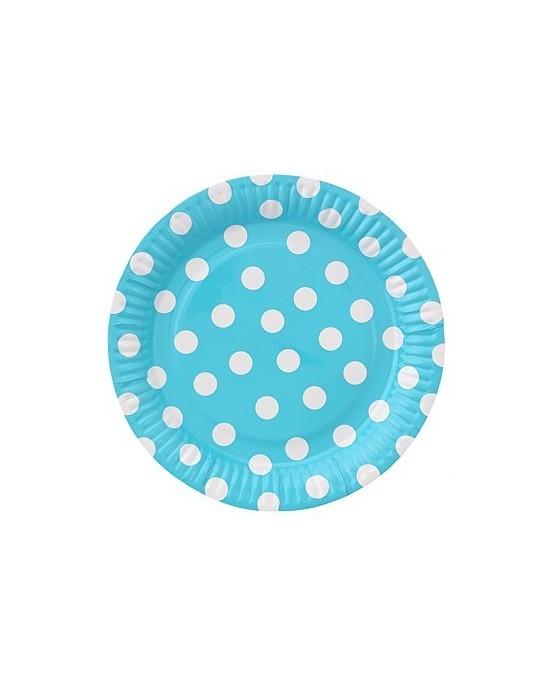 Taniere modré-biele bodky 23cm 6ks