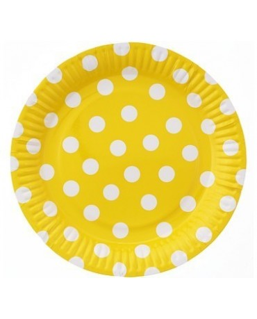 Taniere žlté -biele bodky 23 cm 6ks