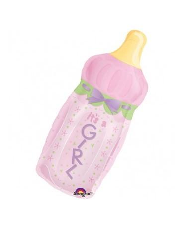 Fóliový balón dojčenská fľaša - ružová 79x33cm