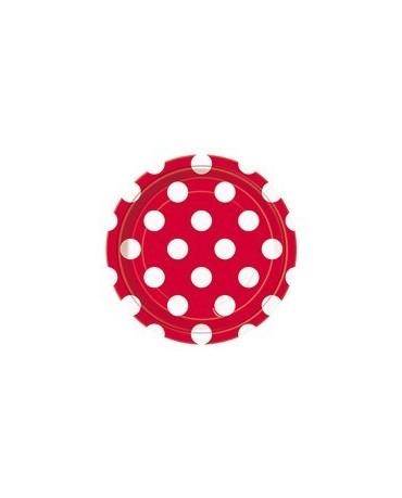 Tanieriky - červené-biele bodky 18 cm 8ks