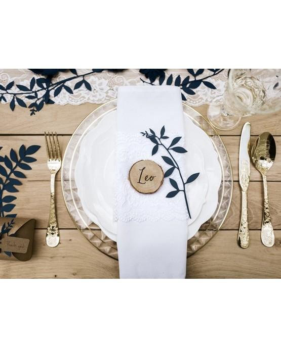 Dekorácie na stôl -vetvičky s lístkami -tmavomodré  9ks
