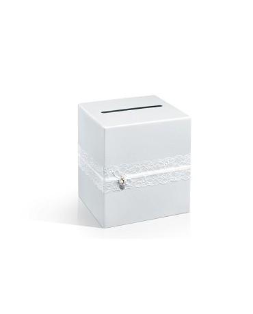 Box na telegramy- biela čipka 1ks