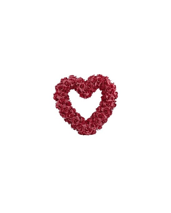 Dekor. bordové srdce z ruží 50cm 1ks