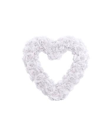 Dekor. biele srdce z ruží 50cm 1ks