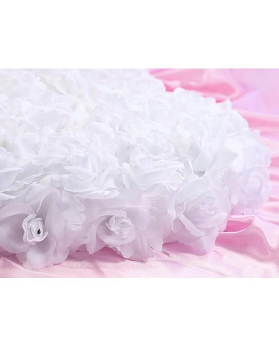 Dekor. biele srdce z ruží - plné  50cm 1ks