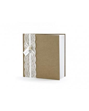 Kniha hostí - hnedá s čipkou